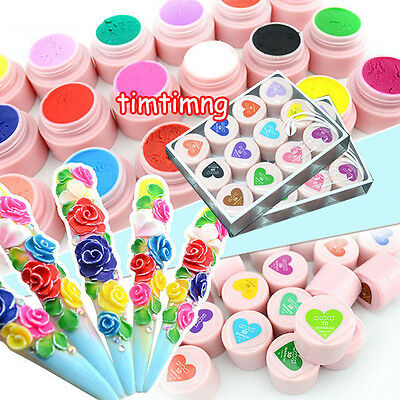 24 Color 3D UV Sculpture Gel Modelling Nail Art Tips Creative Manicure Deco