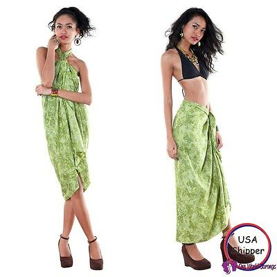 Sarong Beach Coverup Wrap Dress Sexy Skirt - Butterfly Sarong in Olive Green