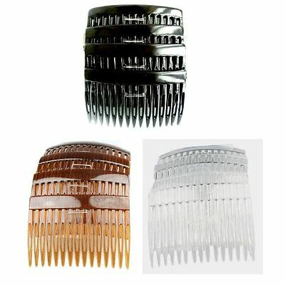 Pack of 4 x 7cm Plain Hair Combs Side Combs Slides Black Clear or Tortoiseshell