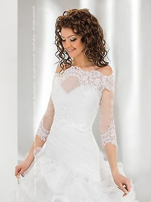 Bridal Ivory/White Lace Over-top Bolero Shrug Wedding Jacket 8/10/12/14