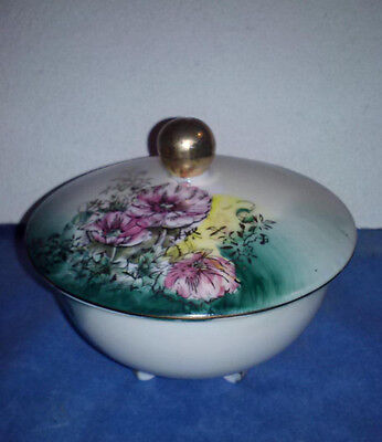 Vintage Lefton China Covered Footed Bowl Gold Trim Teal and Pink Floral
