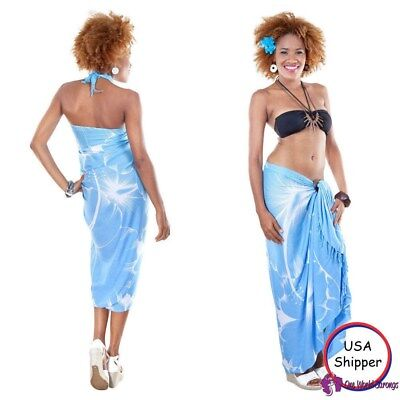 NEW LADIES SARONG BEACH DRESS HOLIDAY WRAP COVER UP SKIRT BLUE ONE SIZE sa237