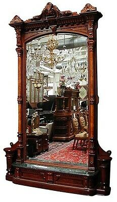 Antique American Walnut Hall Mirror by Herter Brothers #6107