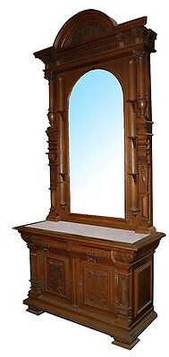 Large Antique Carved Mirrored Hall Stand with Marble Top #1537