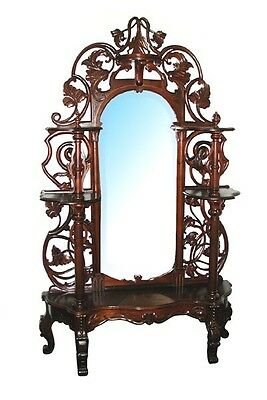 Antique Pierce-Carved Rosewood Rococo Revival Étagère #8175