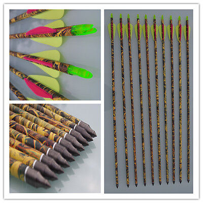 "6 X 31"" Carbon Camo Arrows For Compound Or Recurve Bow Target Archery New"
