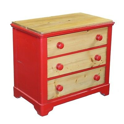 Continental Pine Shabby Chic Red Painted 3 Drawer Chest