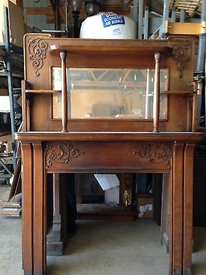Very Nice Oak Antique Fireplace Mantle Original Am 17