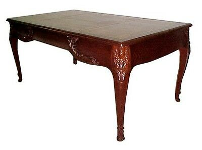 French Mahogany Writing Table with Gold Tooled Leather Top #2258