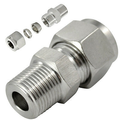 "1/2"" BSPT x6MM Double Ferrule Tube Fitting Male Connector Stainless Steel 304"
