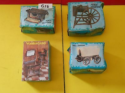 4 Diecast Pencil Sharpeners Hong Kong Typewriter Spinning Wheel Washstand  G16
