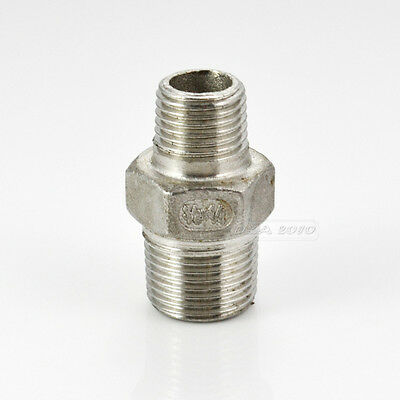 "3/8""x1/4""Male Hex Nipple Threaded Reducer Pipe Fitting Stainless Steel 304 BSP"