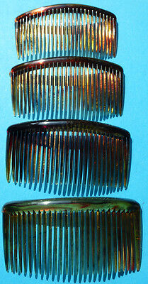 "4 Vintage Hair Combs 2.5""/55mm Delicate Tortoiseshell Colour"