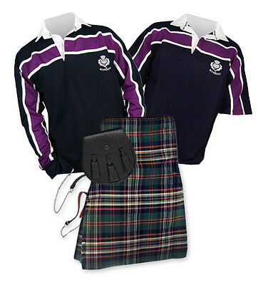 8yd Kilt Outfit 'Sports Essential' - Purple Stripe Top - Heritage of Ireland