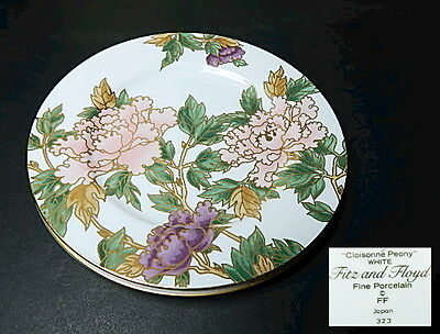 Fitz & Floyd CLOISONNE PEONY - WHITE Accent/Salad Plate, MINT!