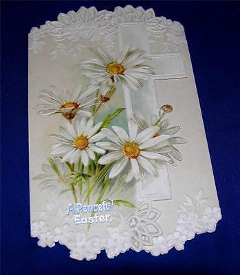 Lovely Vtg Die Cut Heavy Embossed Paper Lace Victorian 1915 Easter Card, Crafts