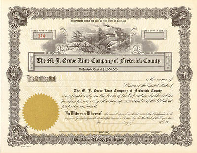Frederick County Maryland Lime Grove stock certificate