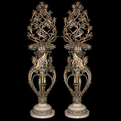 Pair of Antique Bronze Torcheres with White Marble Base #5374