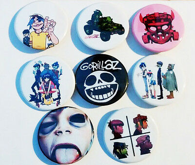 8 piece lot of Gorillaz pins buttons badges