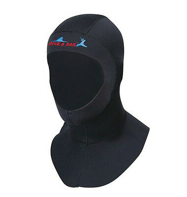 3mm Neoprene Scuba Diving Bibbed Hood Warm Cap Divers Cap Hood Black Neck Cover