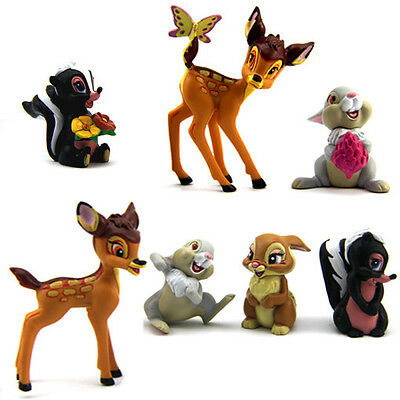 Hot Lots of 7 Disney Bambi Cute Animal Mini Figure Gift For Baby Kids Toys M205