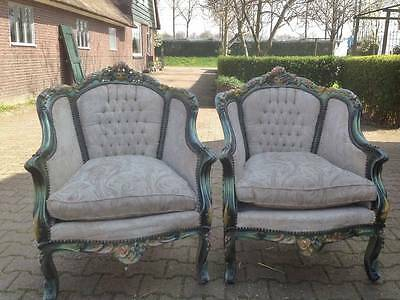 TWO BEAUTIFULLY DECORATED ANTIQUE ROCOCO CHAIRS-1900-