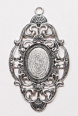 4 of 25x18 mm Antique Silver Old Victorian Art Deco Style Pendant Settings, Nice