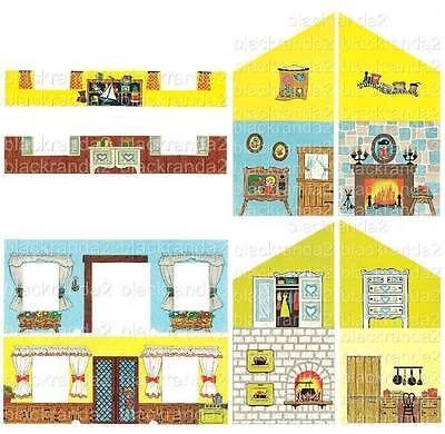 Vntg Fisher Price Little People 952 Tudor House Wall Replacement Lithos Stickers