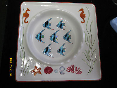 Vintage Collectible Stangl Pottery Seahorse and Fish Carribean Ashtray #39150