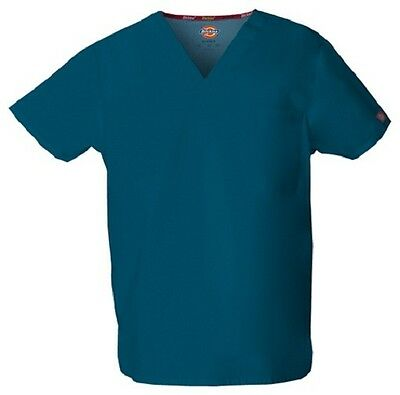 Dickies Scrubs 83706 V Neck Unisex Scrub Top Dickies EDS Caribbean Blue