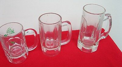 Vintage 3 Lot Clear Glass Stein Mug Root Beer Ribbed Paneled Used ✞