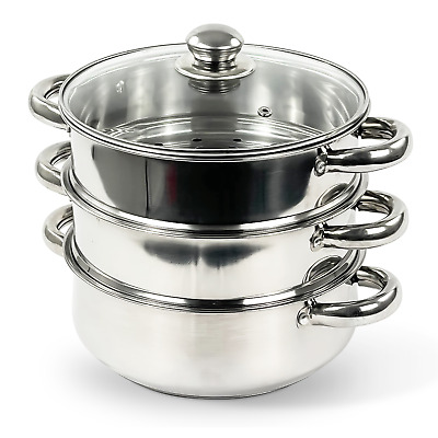 3 Tier 22Cm Stainless Steel Multi Veg Steamer Cooker Pot Pan Set With Lid New