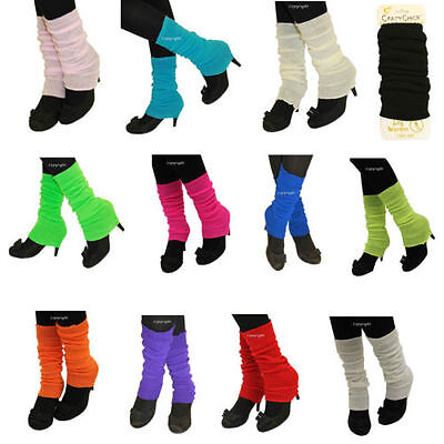 Deluxe Luxurious Ladies 80's Plain Ribbed Leg Warmers Legwarmers 15 Colour TU TU