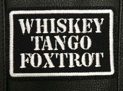 Whiskey Tango Foxtrot Sew On Custom Motorcycle Patch Square WTF FTW Biker