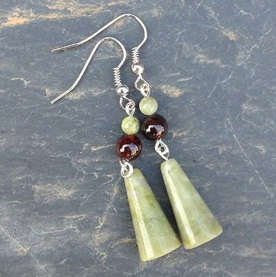 Connemara marble and garnet long earrings. Irish jewelry. Gemstone Ireland.