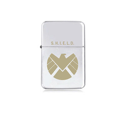 ★STAR★ engraved LIGHTER silver black pink gold MARVEL AGENTS OF SHIELD logo