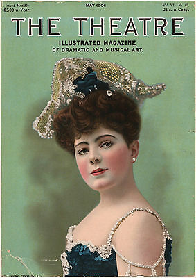 *Vintage* 1906 THE THEATRE MAGAZINE Cover Brunette Beauty DRAMATIC & MUSICAL ART