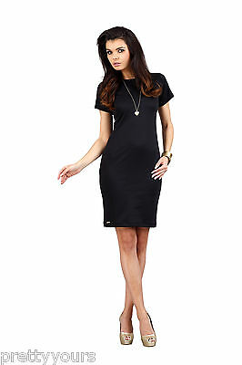 New Women's Bodycon Dress Crew Neck Short Sleeves Back Zip - S M L XL (6 Colour)