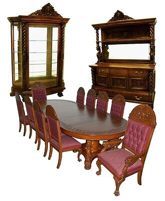 Antique RJ Horner 13-Pc. Winged Griffin Figural American Oak Dining Set #7200