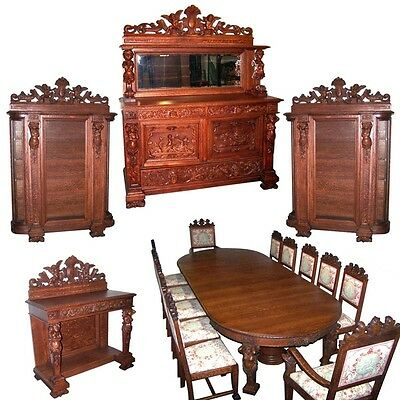 17-Pc. Oak Dining Set with Figural Maidens & Winged Cupids #7187