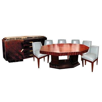 Fabulous 8-Pc. Rosewood Art Deco Dining Suite by Jules Cayette #1164