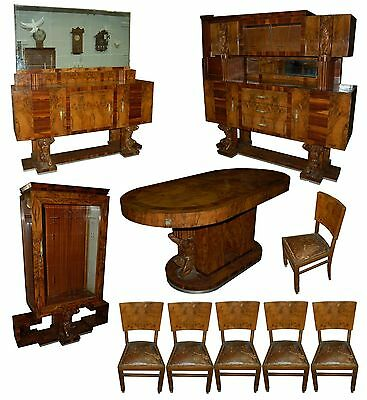 Fabulous 10-Pc. Art Deco Dining Set c. 1920 #5341
