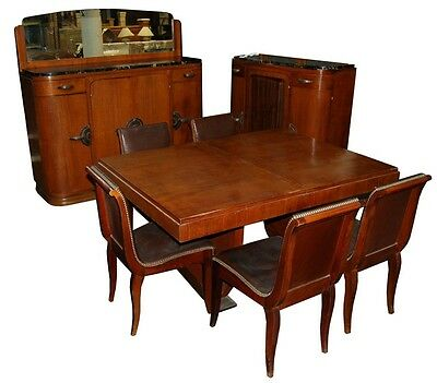 11-Pc. Walnut Burl Deco Dining Suite c. 1920 #1161