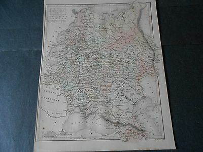 1846 Colored Antique Map Russia And Poland Engraved By W.hughes