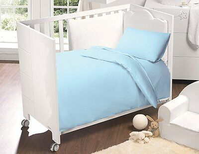 5 Pcs Baby Cot Bed Bed In Bag Set In Cotton - Sky Blue 4.5/9.0 Tog