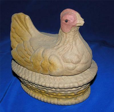 Vtg 1930's Fn Burt Co Paper Mache Pulp Easter Hen On Nest Candy Container