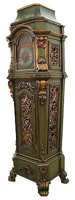 19th C. German Giltwood Painted Long Case Grandfather Clock w/ Polyphon #7642
