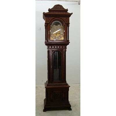 American Victorian Heavily Carved Oak Long Case Grandfather Clock #7647