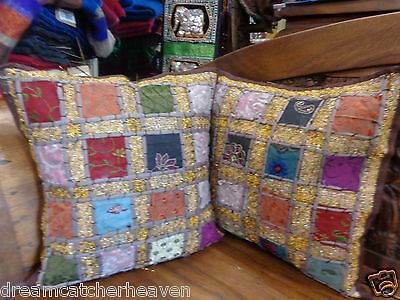 Stunning 1 X  Handmade Indian Vintage Sari Patch Cushion Cover 40X40 Rrp $15