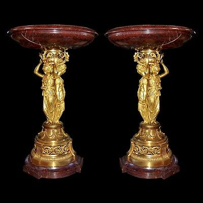 "Pair of Bronze & Marble ""Griotte"" Urns by H. Picard #6657"